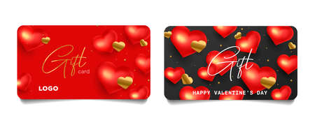Set of gift certificates or vouchers for Valentines day greeting, cards with 3d red hearts and golden confetti