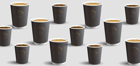 Pattern of realostic 3d paper coffee cups with latte or cappuccino and small esspresso mugs