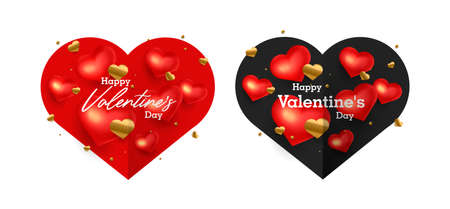 Set of greeting cards for Valentines Day with 3d red hearts and golden confetti, paper card with love burst