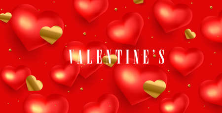 Happy Valentines Day holiday greeting poster or banner with 3d red hearts and golden confetti hearts