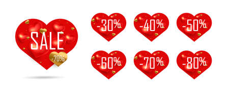 Set of shopping tags or discount labels for Valentines day with percent sale discounts, red heart-shaped stickers Illusztráció