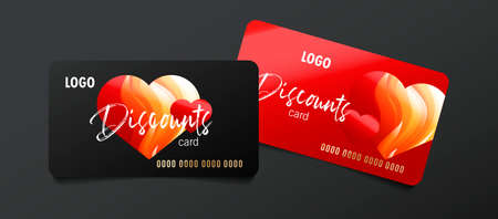 Set of discount cards or bank credit cards for special occasion like for Valentines day, with 3d red hearts Illusztráció