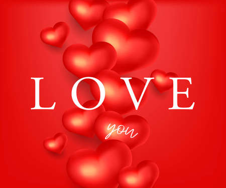 Happy Valentine s Day holiday card or banner with 3d shapes of red hearts on red background with love you copy