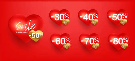 Set of digital shopping tags or discount labels for Valentines day with percent sale discounts, red heart hearts with golden stickers Stock fotó