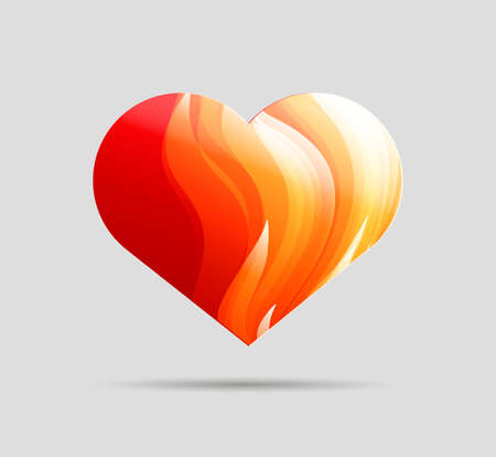 Artistic heart shape with fire texture inside, Valentines day blank greeting card