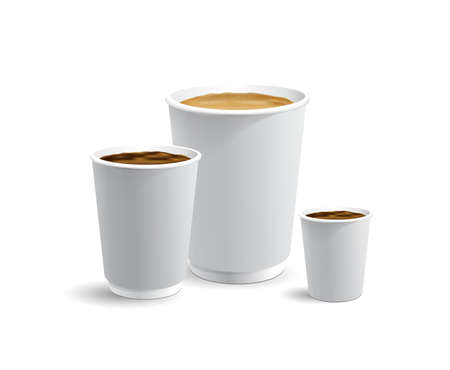 Set of white papar take away coffee cups for latte cappuccino and esspresso or americano full with coffee