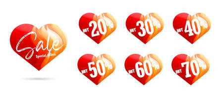 Set of shopping tags or discount labels for Valentines day with percent sale discounts, red heart-shaped stickers with fire texture