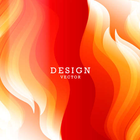 Abstract background for design with bright graphic element of fire flames on both sides of the compositions with blank space inside