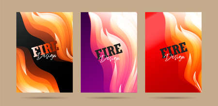 Set of posters with fire abstract graphic forms, fire protection promo or hot party invitation Stock fotó