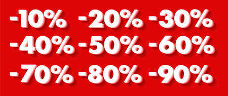 Set of percent discount number figures, white 3d digits on red backdrop, collection for advertising or promotion Illusztráció