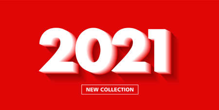 New collection poster with bright red background and 3d white number text 2021