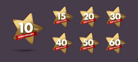 Set of anniversary labels or tags with golden star shape and red ribbon for different years