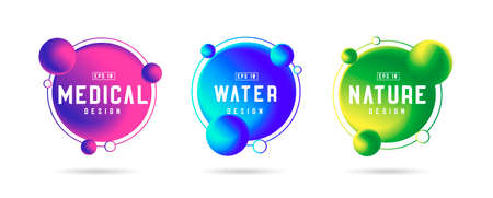 Futuristic graphic design elements, fluid circles with satellites on orbit, for medical water and nature color sryles
