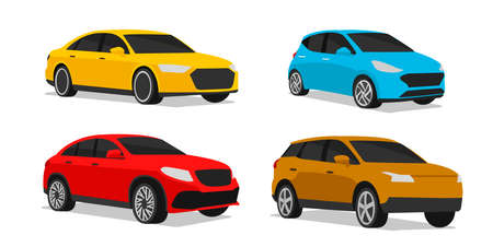 Set of car illustration of different vehicle type model in different colors, stylized silhouette, simle icon