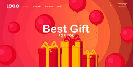 Promo banner for landing page with gift boxes and round red balloons flying around, sale advertising template with interface elements in warm colors