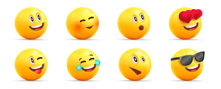 Smiley face 3d icons or yellow emojies with dofferent happy expressions, spheric characters loaughing, in love and cool, isolated