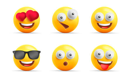 Smiley face 3d icons or yellow emojies with happy expressions, spheric characters laughing, in love and cool in sunglasses, isolated
