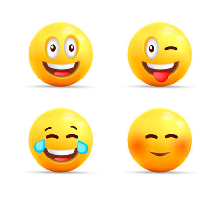 Smiley face 3d icons or yellow symbols with happy expressions, spheric characters laughing, shy and with tongue set