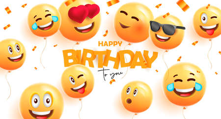 Birthday banner with festive 3d round balloons with happy smiles face expressions and confetti Foto de archivo