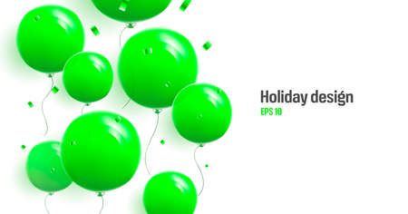 Cover backdrop with bright green round balloons and confetti flying up, realistic 3d graphic element with place for copy