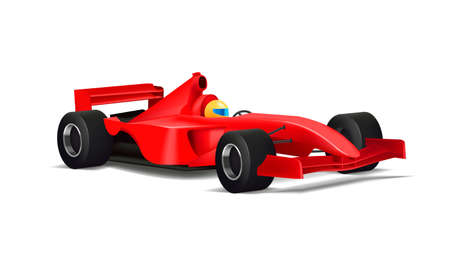 Realistic illustration of red sport bolide car with driver in yellow helmet and with black tyres, 3d detailed graphic