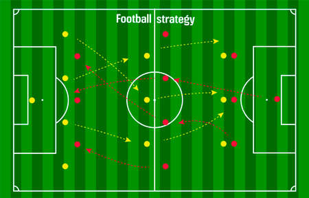footbal or soccer strategy scheme, red and yellow pins with arrows on green stadium backdrop with white game lines Vectores