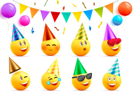Birthday graphic elements set eith yellow smiling faces in cone hats with happy expressions and round ballons and festive flags with confetti Vectores