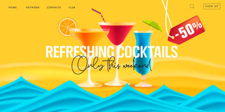 Summer sale web banner for promo landing page for beach bar with cocktails discounts, 3d realistic illustration