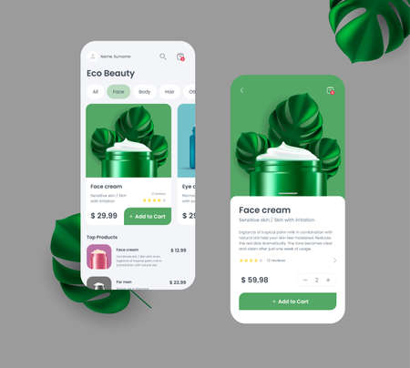 Generic and fictional mobile application for online shopping with interface elements, bright 3d illustration of creme jar with palm leaves