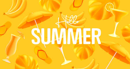 Hellow summer yellow mono color poster with yellow object like cocktails, sun unbrella and palm leaves with flop flops. 3d graphic