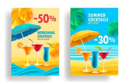 Summer sale posters with promo deals for alcohol cocktails, realistic 3d illustrations, glasses on the beach with umbrella and tropical leaves