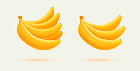 3d vector realistic illustration of bunch of bananas, three and big bunch, isolated graphic