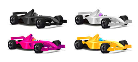 Realistic illustration set of sport bolide car in different colors with driver in helmet and with black tyres, 3d detailed graphic