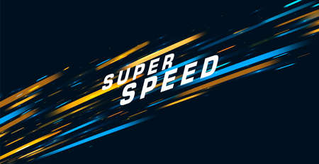 Abstract vector background with bright lights in movement forming neon tail with super speed text Vectores