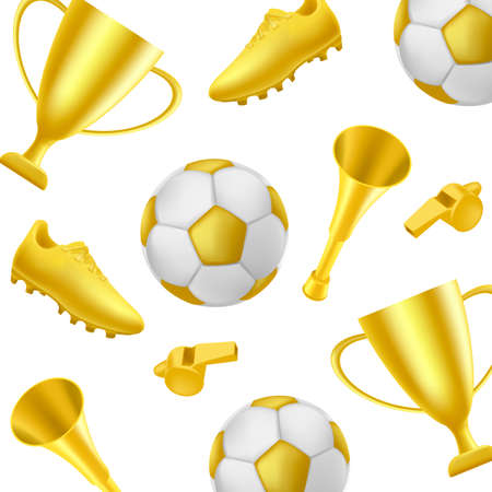 Football pattern with winner attributes like golden boot, cup trophey, golden ball and whistle and horn on white backdrop Vectores