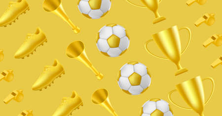 Golden soccer or football pattern with golden boot, horn and trophy cup and ball and whistle, best tournament award and fan attributes