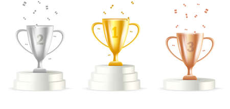 Winners podium with gold, silver and bronze cups 3d illustration with confetti, first second and third place of the tornament