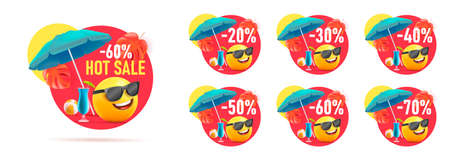 Set of summer sale discount price tags, circle shapes with 3d illustration of smiley face with umbrella and cocktails on tropic beach in sunglasses, with percent discount