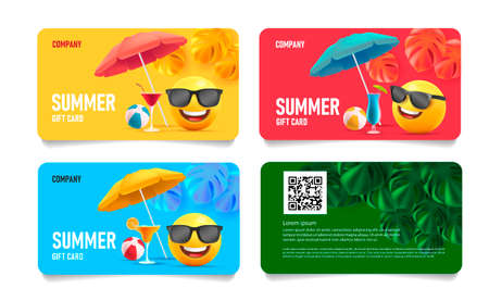 Summer sale card set with 3d smile in sunglasses under sun umbrella with tropical leaves and cocktails and beach volleyball ball, front and back layout template