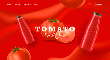 Web banner for tomato sauce or juice with 3d illustration of tomato and slice with glass bottle on red wevy background
