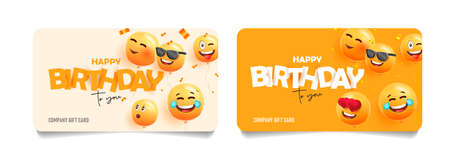 Set of company greeting cards for Birthday with yellow smiling faces as 3d balloons, happy and laughing expressions