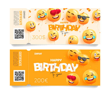 Birthday party gift certificate or party invitation with happy yellow smiling faces as 3d ballons and typography as paper letters
