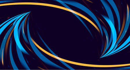 Abstract background with blue and yellow stripes forming swirl in movement to the center, dynamic digital background