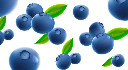 Background texture with 3d illustration of blueberries, single and bunch with green leaves