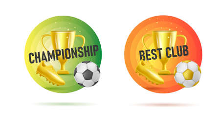 Web banner with fottball tournament 3d golden attributes like ball, golden boot and horn, first place cup Vectores
