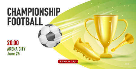 Football or soccer poster with championship tournament announcement with illustration of golden boot, cup and horn with ball in motion