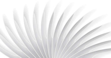 White 3d curves forming elegant twisted background, clean futuristic space wallpaper or stylized turbine illustration