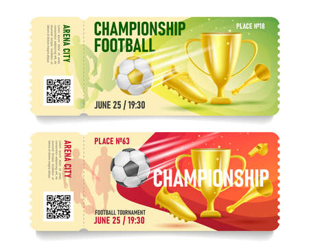 Set of football soccer game admission tickets or gift certificates with golden cup boot and horn 3d illustration
