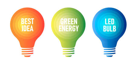 Set of infographic elements of light bulb lamp icons, stylized in gradient colors with info Vectores