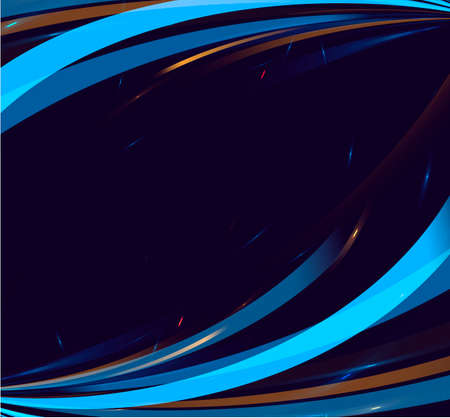 Abstract frame of bright stripes with empty place for copy, dark backdrop with waves rotating and forming frame